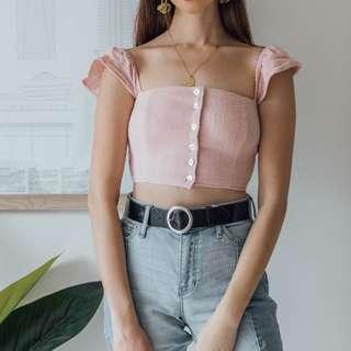 SOMEDAYS LOVIN - Pink Ruffle Shoulder Top ✧ Tara Milk Tea