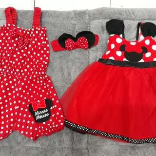 Dress merah+jumsuit+bando polkadot micky