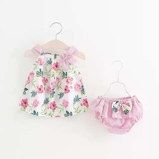 <Infant series> CNY baby floral pink dress