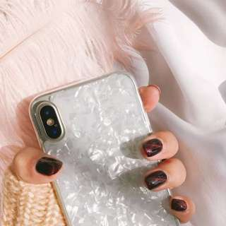 White pearl shell plastic phone case for iPhone X