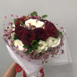 White & Red roses Hand Bouquet