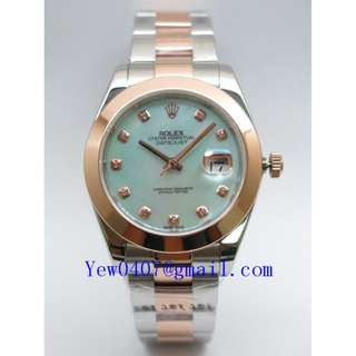 034819-RSAP41OS2R 02-S-D-MOP-GR ICOX OYSTER SMOOTH-BEZEL 2TONE ROSE GOLD AUTOMATIC SAPPHIRE