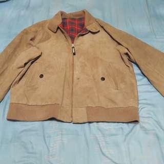 Jaket harrington bahan leather full tartan