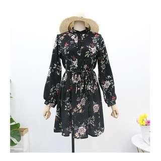 復古印花雪紡圓領襯衫綁帶長袖洋裝