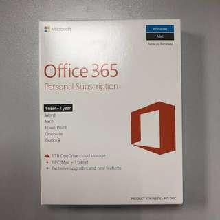 Office 365 英文個人一年版 (1 PC/MAC +1 tablet)