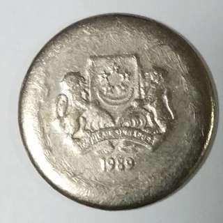 Singapore 1989 20 cents ERROR