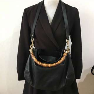 Gucci classic bamboo leather hobo