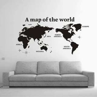 Map of the World Black Wall Decal Sticker