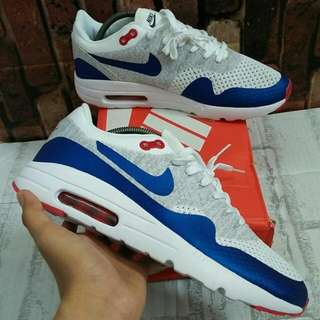 NIKE AIR MAX 1 ULTRA FLYKNIT WOLF GREY WHITE BLUE RED MIRROR