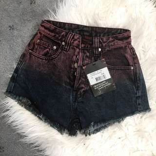 Ombré High Waisted Denim Shorts XS
