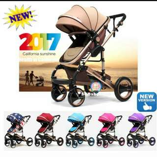 Red with Gold Lining Baby Pram / Stroller
