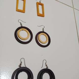 Wood ethnic earings
