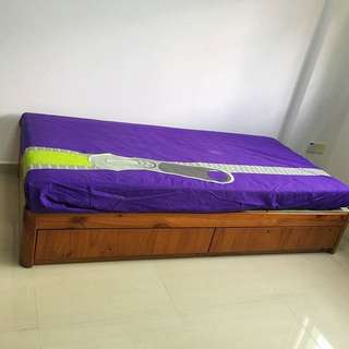Solid Wood With 2 Drawers Single Bed 🛏 / Mattress