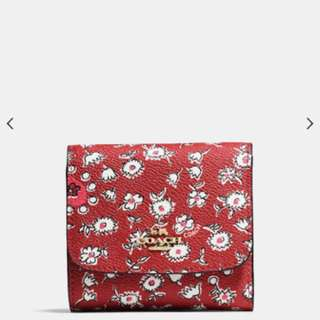BN Coach SMALL wallet in wild hearts print canvas