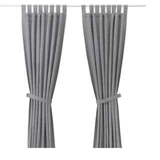 IKEA LENDA Curtains with tie-backs, 1 pair, grey
