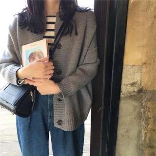 復古百搭單排釦寬鬆開衫針織外套