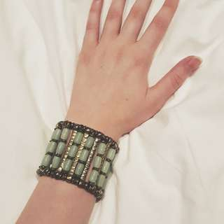 Gold and Green Cuff Bracelet
