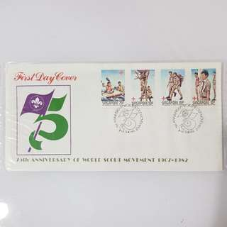 4× 75th anniversary of world scout movement 1907-1982 first day cover FDC