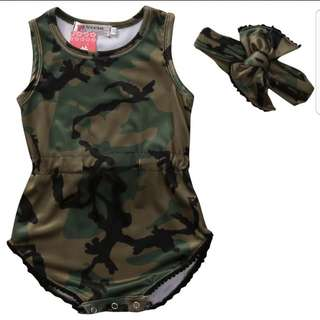 ❤INSTOCK❤ Camo Baby Romper with Headband Set