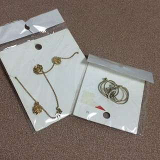 H&M set earrings, necklace and rings