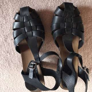 Topshop wooden heeled sandals