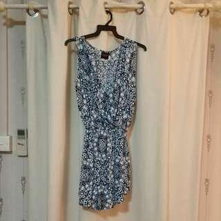 Sasaku Lombok waist-cinch blue batik short dress