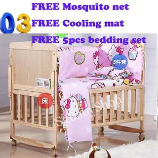 Brand New wooden baby cot/bed/Free bedding set/Free mosquito net/Free cooling mat/free soft blanket