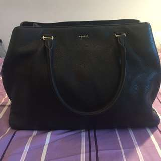 Agnes b black leather handbag