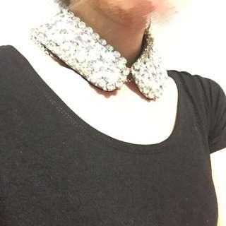 精品 水鑽寶石假領項鍊