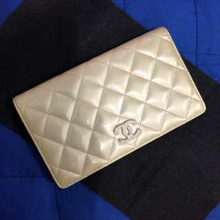 Authentic Chanel Paris-Dallas Bi-Fold Wallet in Quilted Patent Goatskin