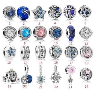Authentic Pandora charm clip pendant bracelet earrings