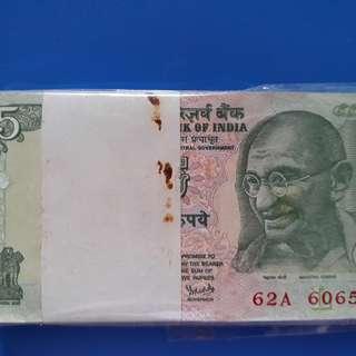100 Notes Serial Packet ( Bundle ) - MAHATMA GANDHI - Y.V. REDDY - 5 Rs india