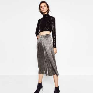 Zara metallic pleated culottes