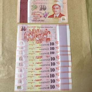 Great as Ang Pao Gift - SG 50 Commemorative $10 notes - 9 pcs with running numbers
