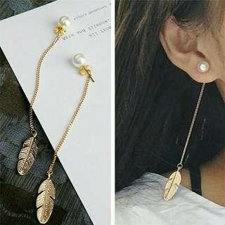 Long tassel Leaf Peal women Dangling earrings