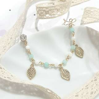 • Boho • Pastel Blue/Pink • Handmade Earstud • Adjustable Earcuff • With Connecting Chain