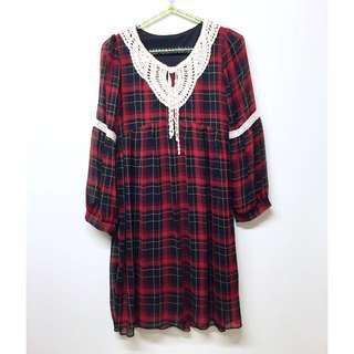 甜美格紋編織領口流蘇雪紡洋裝
