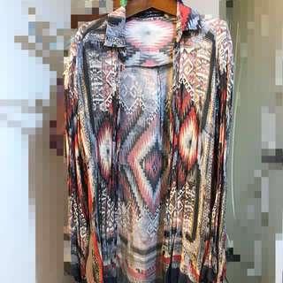 zara 波西米亞民族風 圖騰歐洲設計感襯衫 上衣罩衫
