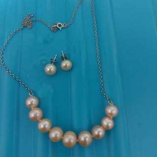 925純銀+淡水珠頸鍊耳環套庒