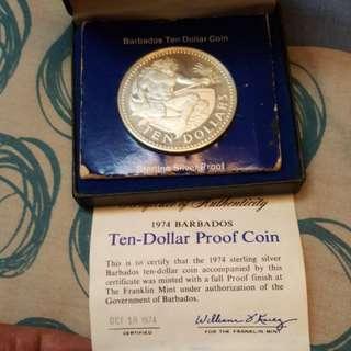 1974 BARBADOS Ten-dollar proof coin.