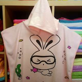 Kid's bath towel with hoodie