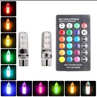 2pcs T10 5050 6SMD W5W LED RGB Multi-color Light with Remote Control for Car, Van and Bikes