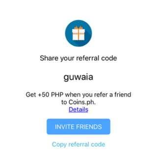 Get 50 pesos upon using my referral code