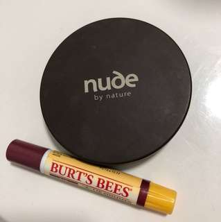 Free with purchases Over $5 Burt's Bees fig lip shimmer heaps left + nude by Nature powder pickup only
