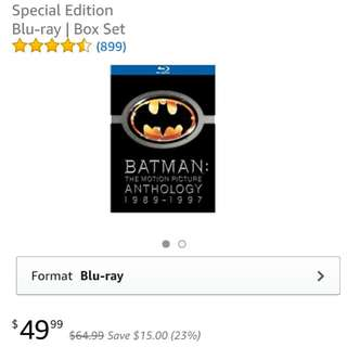 $25 = Batman: The Motion Picture Anthology Blu ray Movies Box Set (1989 - 1997)