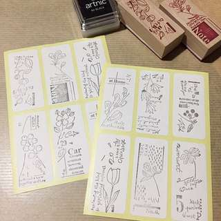Wooden stamps sticker sheets