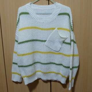 彩色條紋白色毛衣 #舊愛換新歡