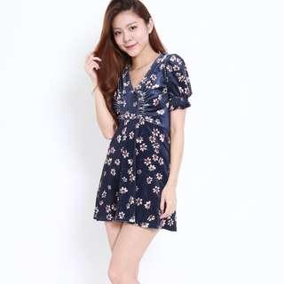 (PO) Hudgens Floral Ruched Dress