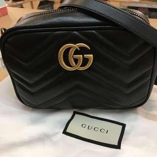 ‼️On Sale‼️全新GUCCI Black Leather GG Marmont matelassé Mini bag
