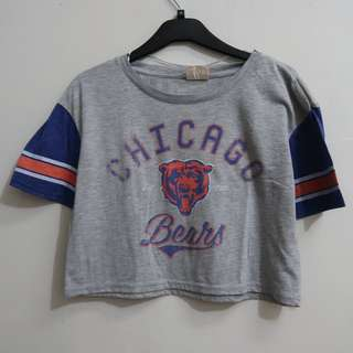 A065 FOREVER 21 CHICAGO BEARS CROPPED SHIRT SIZE EU XS